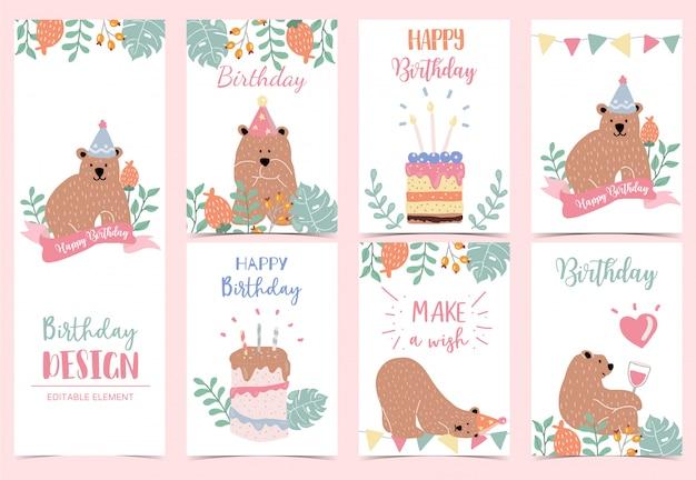 Collectie van verjaardag achtergrond instellen met beer
