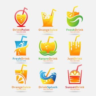 Collectie van vers drankje logo