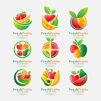 Collectie van vers fruit-logo