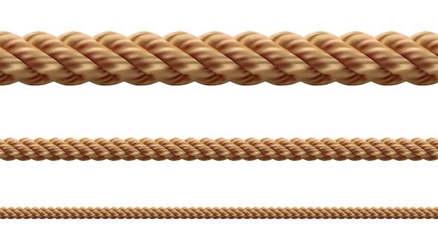 Collectie van verschillende touwen string op witte achtergrond. elk wordt afzonderlijk neergeschoten