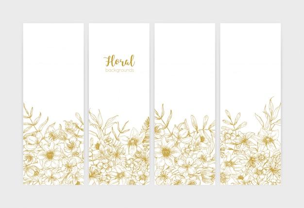 Collectie van verticale botanische achtergronden met romantische wilde bloemen en zomer weide bloeiende kruiden getekend met contourlijnen op witte achtergrond.