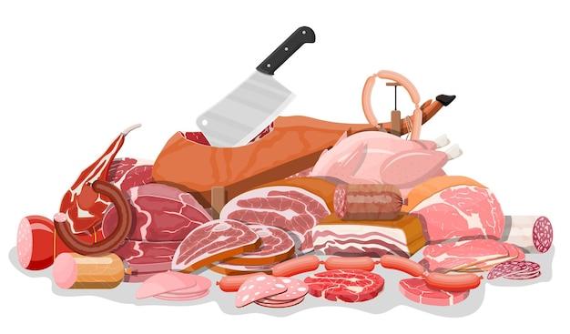 Collectie van vlees. chop, worstjes, spek, ham