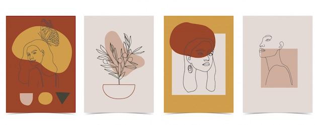 Collectie van vrouw achtergrond instellen met kleur.