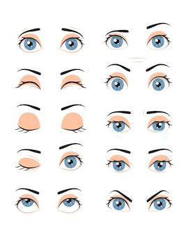 Collectie van vrouwelijke ogen met verschillende emoties.
