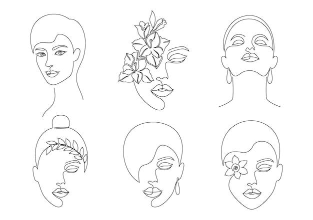 Collectie van vrouwen gezichten in on line tekening stijl op witte achtergrond.