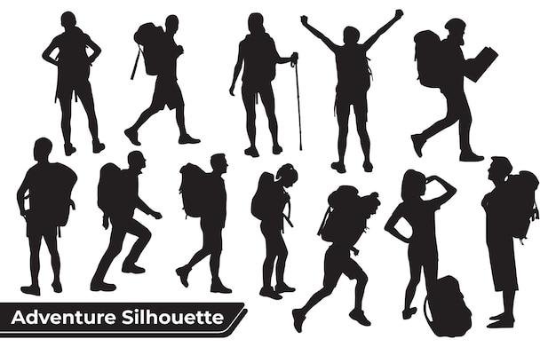 Collectie van wandelaar in bergen silhouetten in verschillende poses
