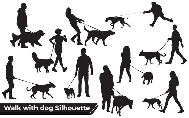 Collectie van wandeling met hondensilhouetten in verschillende poses