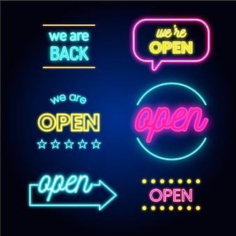 Collectie van we zijn open neonlichtborden