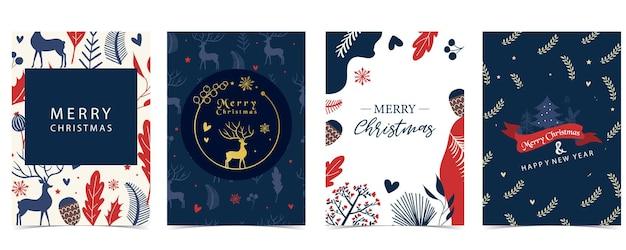 Collectie van winter achtergrond instellen met boom, rendieren, bloem, bladeren. bewerkbare vectorillustratie voor kerst uitnodiging, briefkaart en website banner