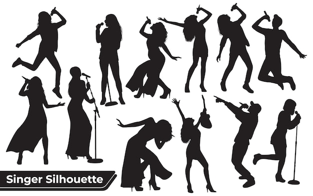 Collectie van zangeressen silhouetten in verschillende poses