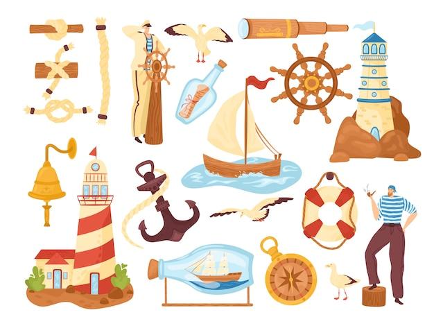 Collectie van zee- en oceaanelementen, nautische illustraties pictogrammen instellen. uitrusting voor maritiem avontuur. kapitein-zeeman, kustvuurtoren, zeilschip en anker, kompaszeesymbolen.
