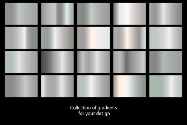 Collectie van zilveren gradiënt achtergronden. set van zilver metallic structuren. vector illustratie
