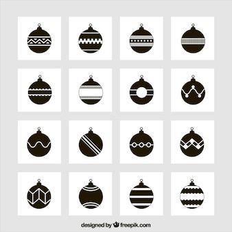 Collectie van zwarte kerstballen