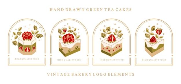 Collectie vintage cake-etiketten met aardbei en frame