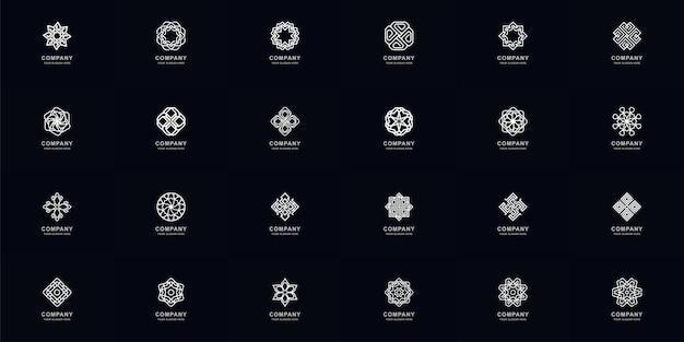 Collectie volledige set abstract ornament of bloem logo sjabloonontwerp