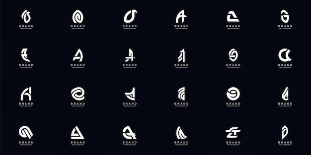 Collectie volledige set abstracte letter a of aa monogram logo ontwerp