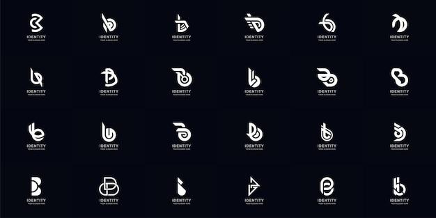 Collectie volledige set abstracte letter b of bb monogram logo ontwerp