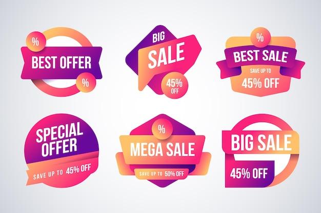 Collectie voor verkooplabels met kleurovergang