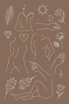 Collectie vrouwelijke lijntekeningen