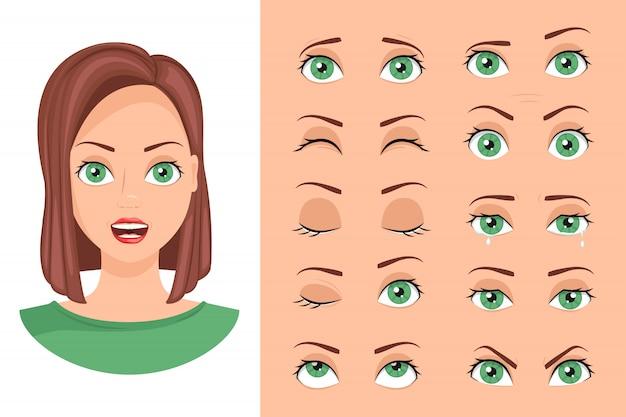 Collectie vrouwelijke ogen met verschillende emoties.
