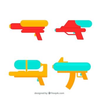 Collectie waterpistolen in vlakke kleuren