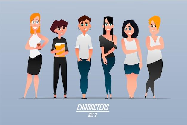 Collectie zakenvrouwen in moderne vrijetijdskleding. set van vrouwelijke karakters.