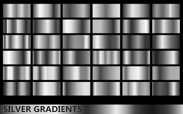 Collectie zilveren gradiënten, met verschillende soorten gouden kleuren