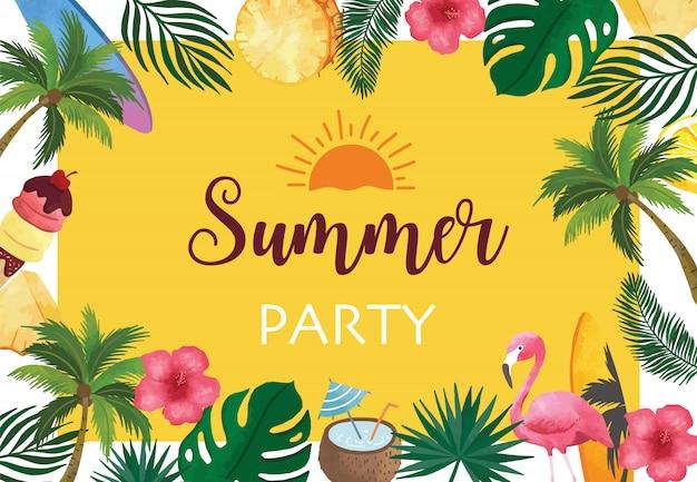 Collectie zomer achtergrond instellen met fruit, flamingo, kokospalm.