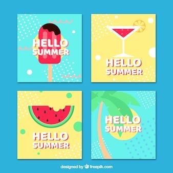 Collectie zomerkaarten in memphis-stijl