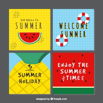 Collectie zomerkaarten in verschillende kleuren