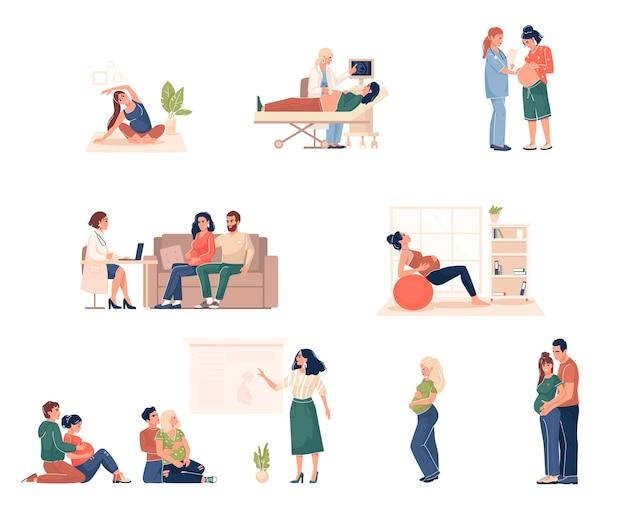 Collectie zwangere vrouwen vector illustratie cartoon vlakke stijl geïsoleerd op een witte achtergrond