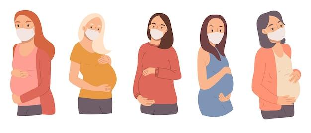 Collectieportretten van gelukkige zwangere jonge vrouwen