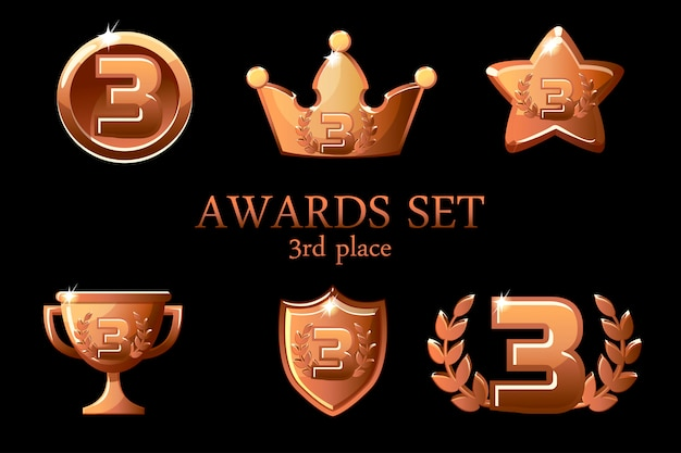 Collecties awards trofee. bronzen awards iconen set, 3e plaats winnaar badge, trofee beker prijs, win beloningen, succes kroon