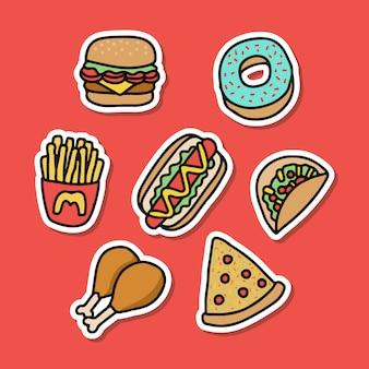 Collecties junkfood-sticker goed voor printontwerp