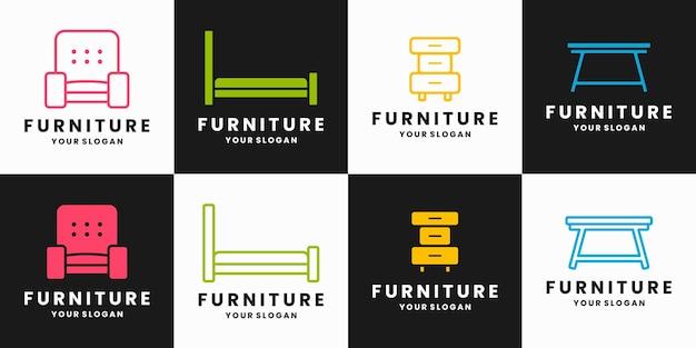 Collecties meubelinterieur logo-ontwerp met platte en lijntekeningen