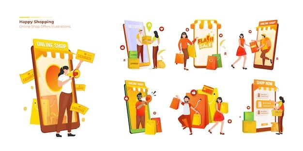 Collectieset over mensen met een gelukkig winkelconcept