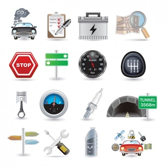 Collection car parts icon