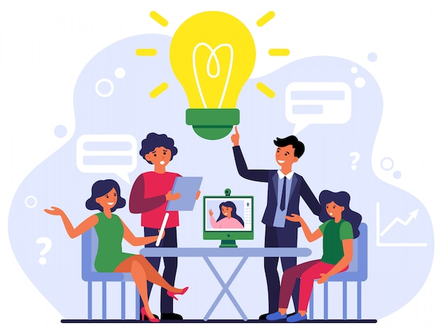 Collega's bespreken online en offline projecten