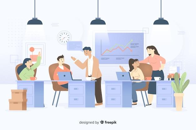 Collega's die op het geïllustreerde kantoor samenwerken