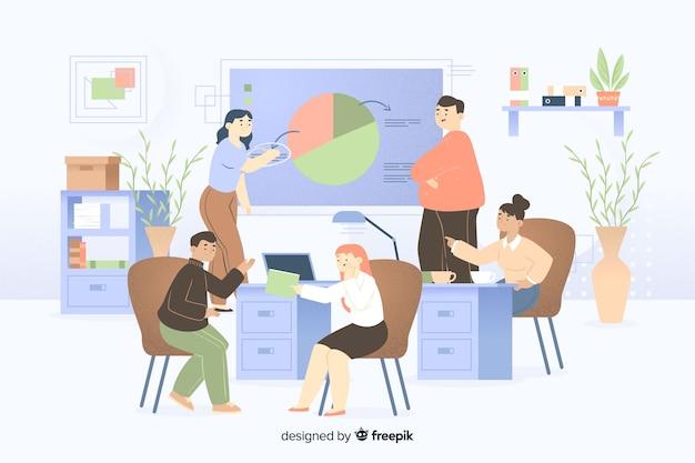 Collega's die op kantoor samenwerken