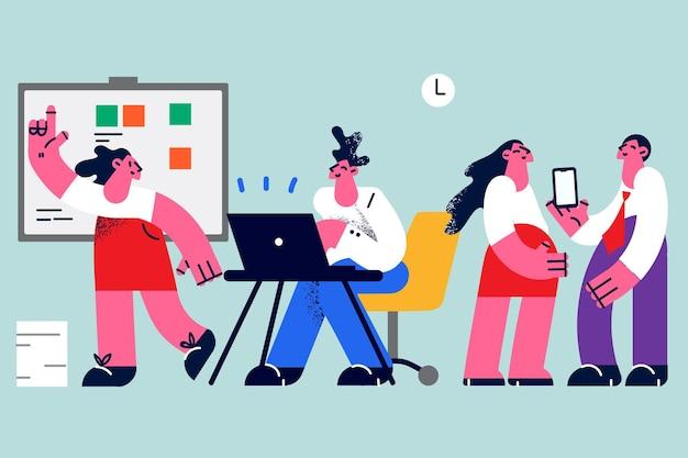 Collega's die werken in kantoorconcept