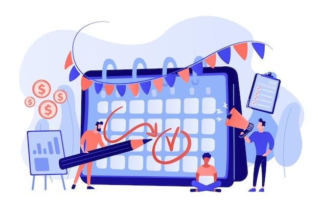 Collega's die zich voorbereiden op een bedrijfsfeest. tijdbeheer, deadline. merk evenement