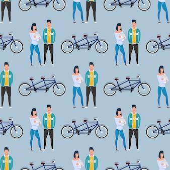 Collega's en tandem fiets naadloos patroon