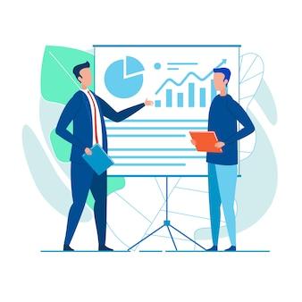 Collega's geven presentatie van financieel verslag