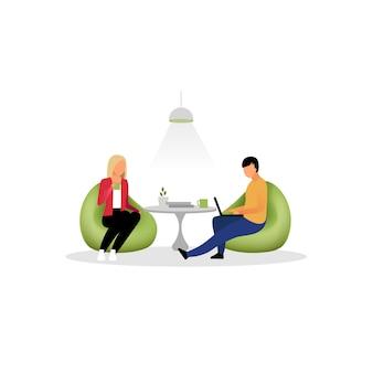 Collega's hebben rust vlakke afbeelding. collega's, medewerkers in de loungezone. kantoorpersoneel, managers drinken thee stripfiguren geïsoleerd. programmeurs, ontwerpers aan het werk