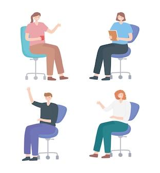 Collega's mensen team zittend op stoel office-groep.
