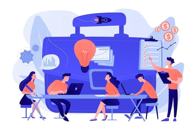 Collega's ontmoeten elkaar. team brainstormen. zakelijke training