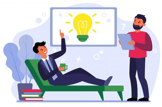 Collega's ontmoeten voor brainstormen