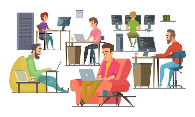 Collega's op het werk. mannelijke en vrouwelijke programmeurs en ontwerpers