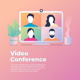 Collega's praten met elkaar op het computerscherm. conferentievideo-oproep, thuiswerken.